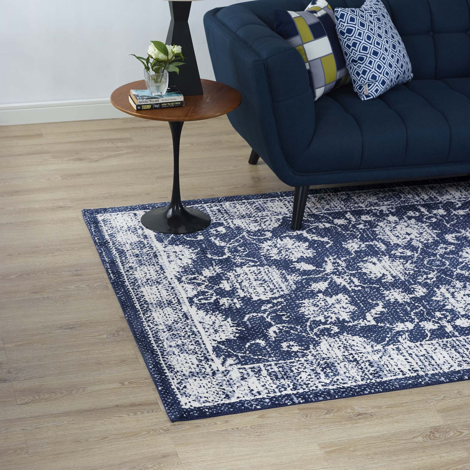 Kazia Distressed Floral Lattice 5x8 Area Rug Dark Blue and Ivory R-1020B-58