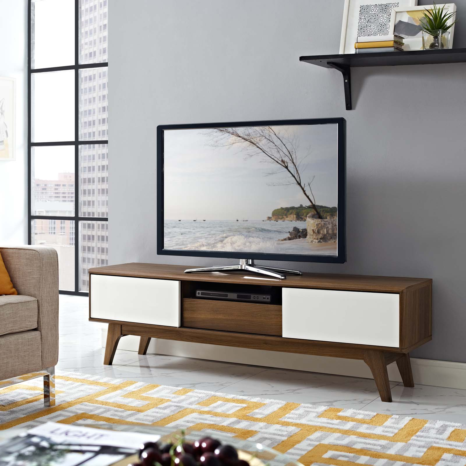 "Envision 59"" TV Stand Walnut White EEI-2540-WAL-WHI"