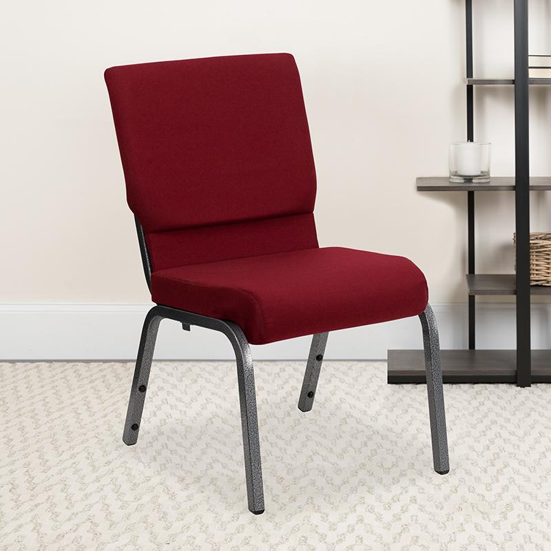 Burgundy Fabric Church Chair XU-CH-60096-BY-SILV-GG