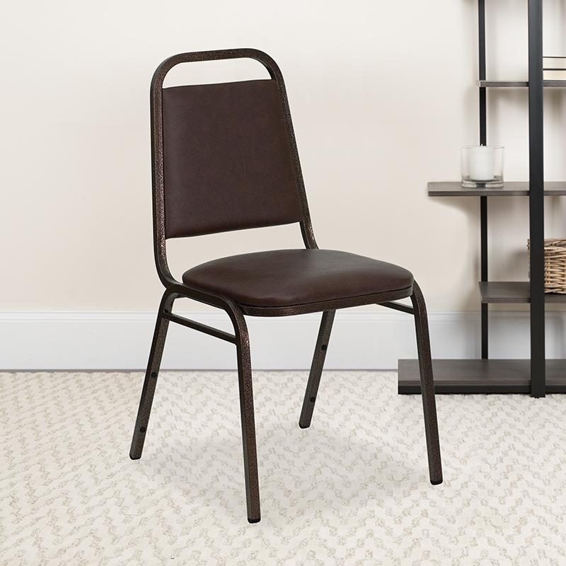 Brown Vinyl Banquet Chair FD-BHF-2-BN-GG