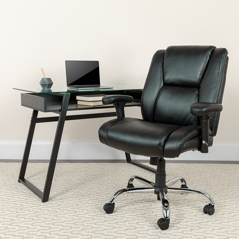 Black 400LB Mid-Back Chair GO-2132-LEA-GG