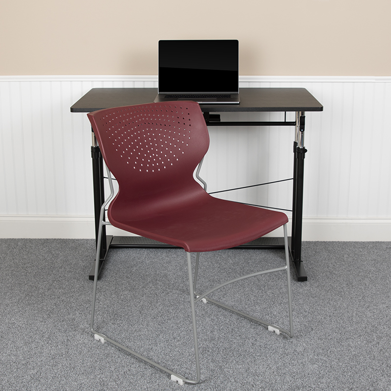 Burgundy Plastic Stack Chair RUT-438-BY-GG