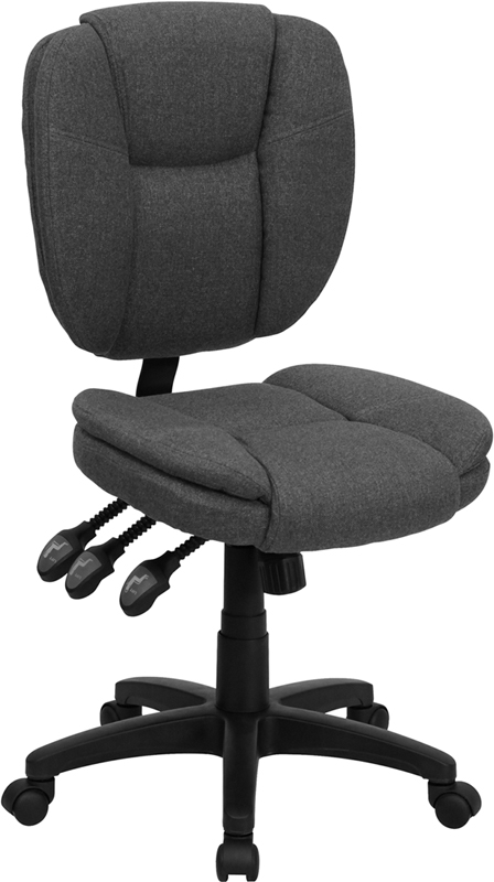 Gray Mid-Back Fabric Chair GO-930F-GY-GG
