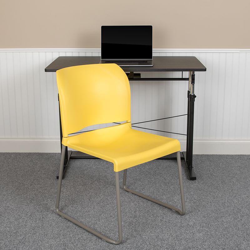 Yellow Plastic Stack Chair RUT-238A-YL-GG