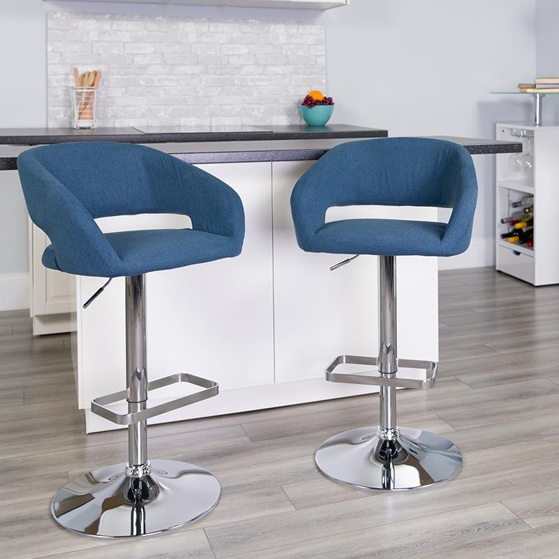 Blue Fabric Barstool CH-122070-BLFAB-GG