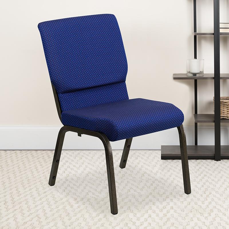 Blue Fabric Church Chair XU-CH-60096-NVY-DOT-GG