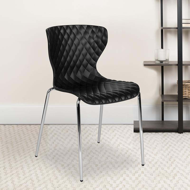 Black Plastic Stack Chair LF-7-07C-BLK-GG