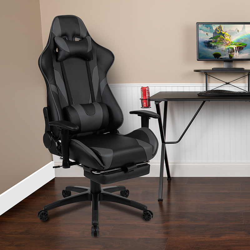 BlackArc X30 Gaming Chair Racing Office Ergonomic Computer Chair with Reclining Back and Slide-Out Footrest in Gray LeatherSoft [CH-187230-GY-GG]