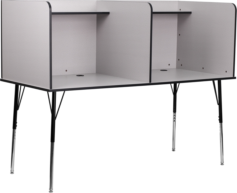 Grey Double Wide Study Carrel MT-M6222-GRY-DBL-GG