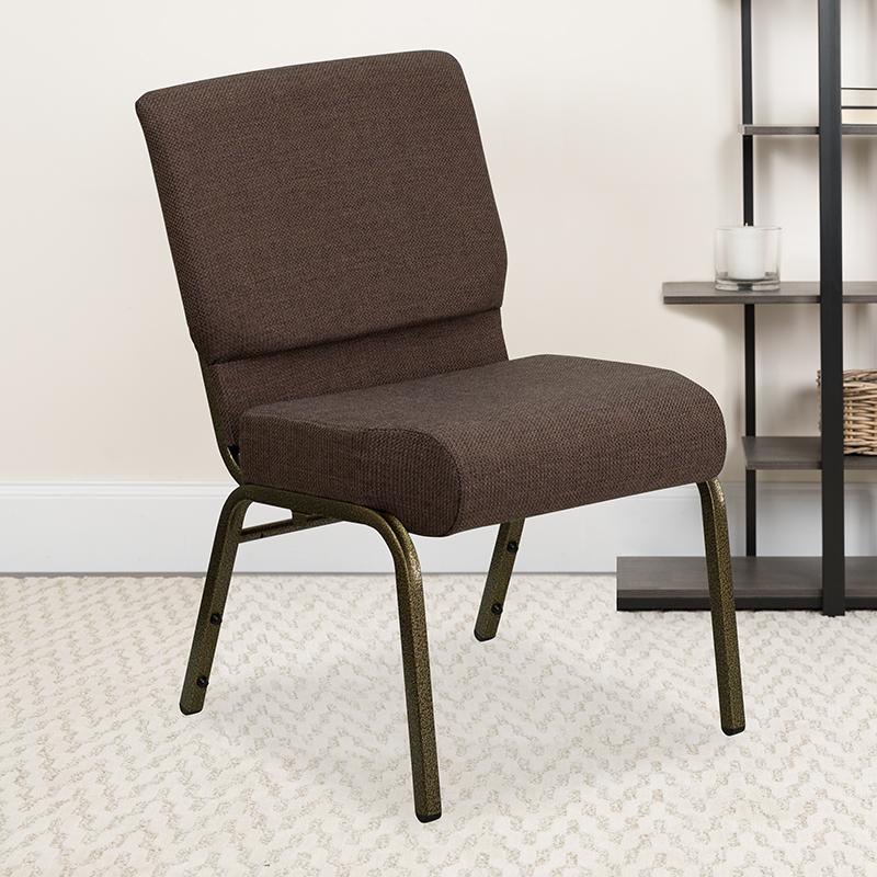 Brown Fabric Church Chair FD-CH0221-4-GV-S0819-GG