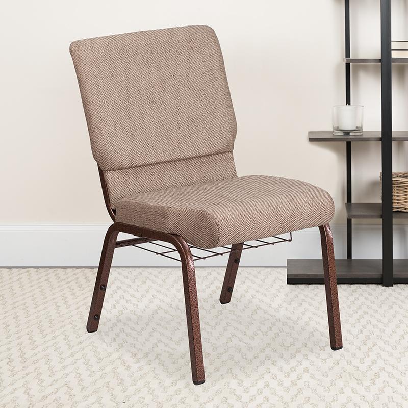 Beige Fabric Church Chair FD-CH02185-CV-BGE1-BAS-GG