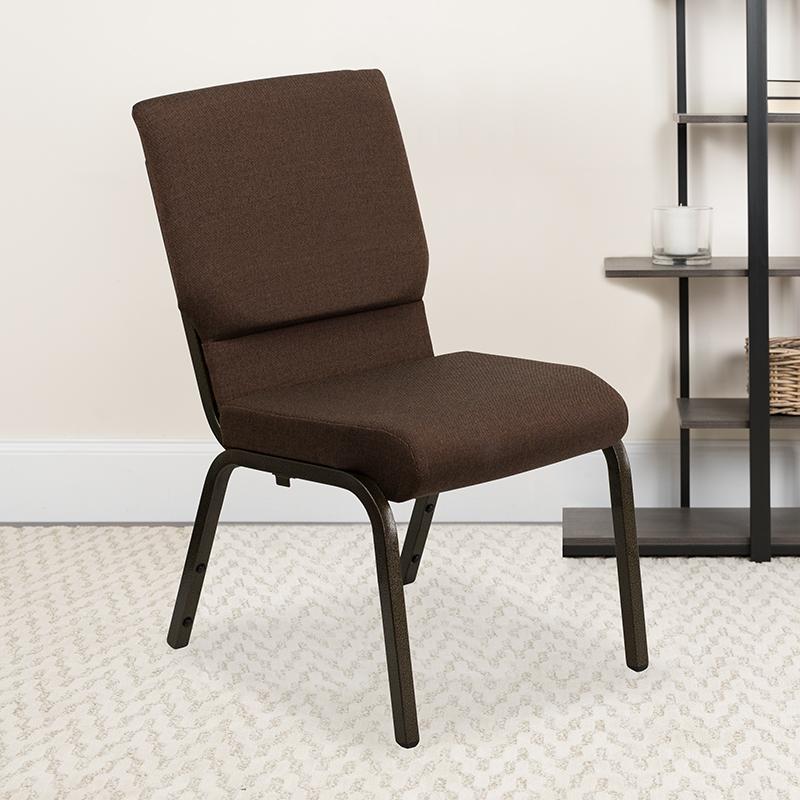 Brown Fabric Church Chair XU-CH-60096-BN-GG