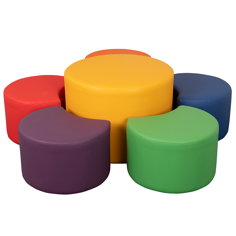 Soft Seating Collaborative Flower Set for Classrooms and Common Spaces - Assorted Colors (12