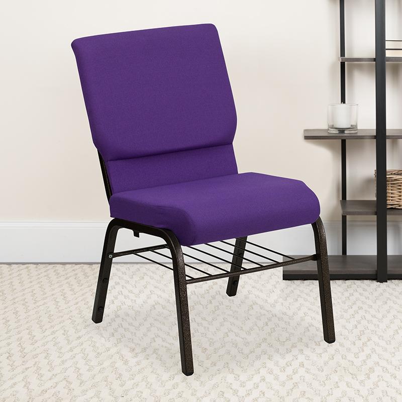 Purple Fabric Church Chair XU-CH-60096-PU-BAS-GG