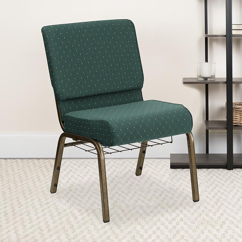 Green Dot Fabric Church Chair FD-CH0221-4-GV-S0808-BAS-GG