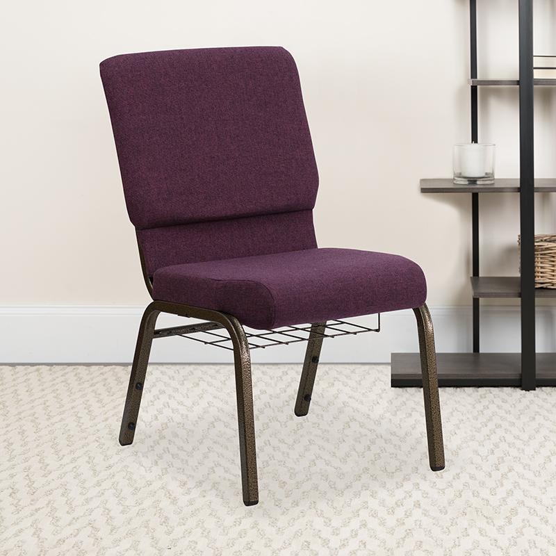 Plum Fabric Church Chair FD-CH02185-GV-005-BAS-GG