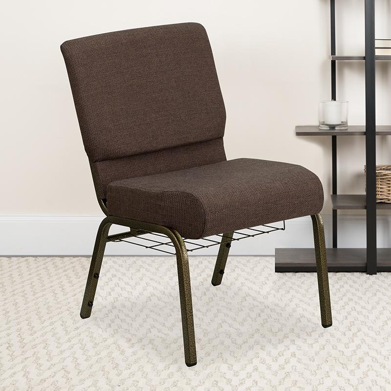 Brown Fabric Church Chair FD-CH0221-4-GV-S0819-BAS-GG