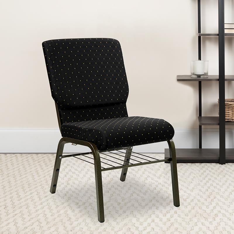 Black Dot Fabric Church Chair XU-CH-60096-BK-BAS-GG