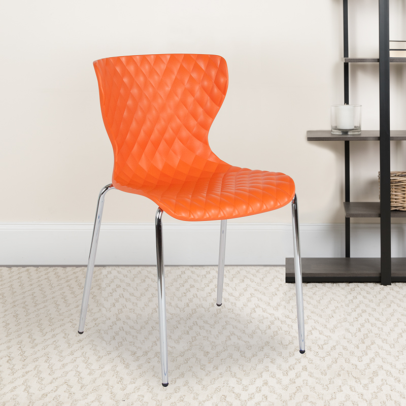 Orange Plastic Stack Chair LF-7-07C-ORNG-GG