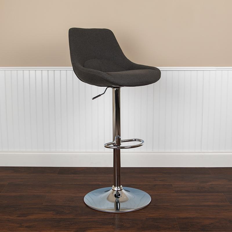 Black Fabric Swivel Bar Stool CH-182050X000-BKFAB-GG