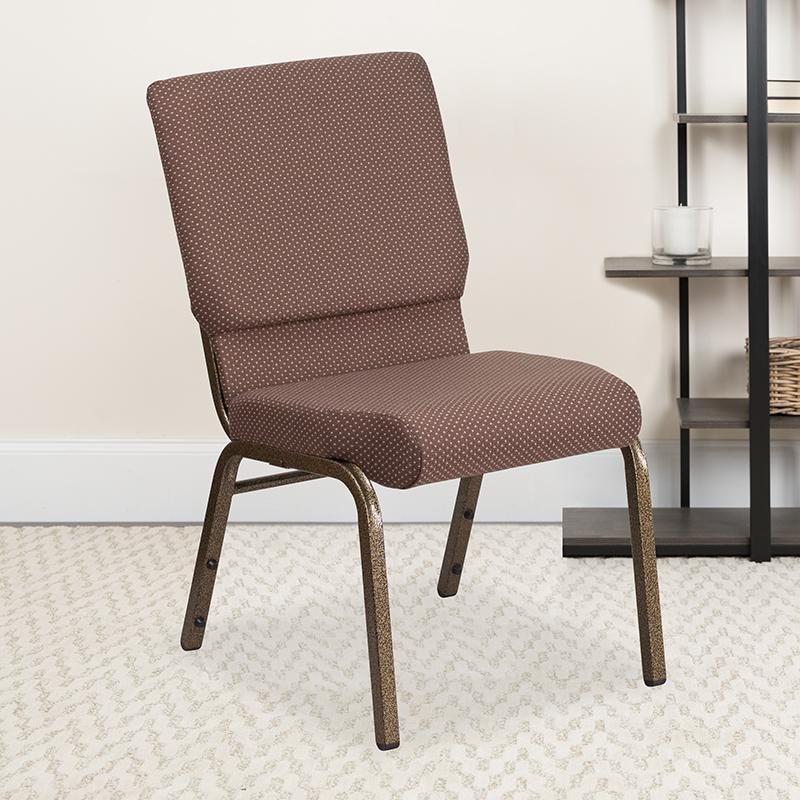 Brown Dot Fabric Church Chair FD-CH02185-GV-BNDOT-GG