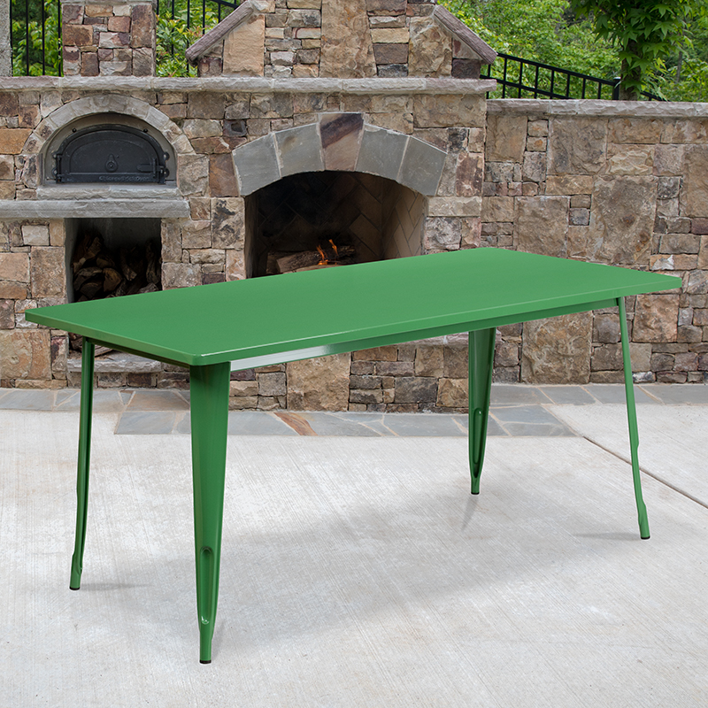 31.5x63 Green Metal Table Set ET-CT005-GN-GG