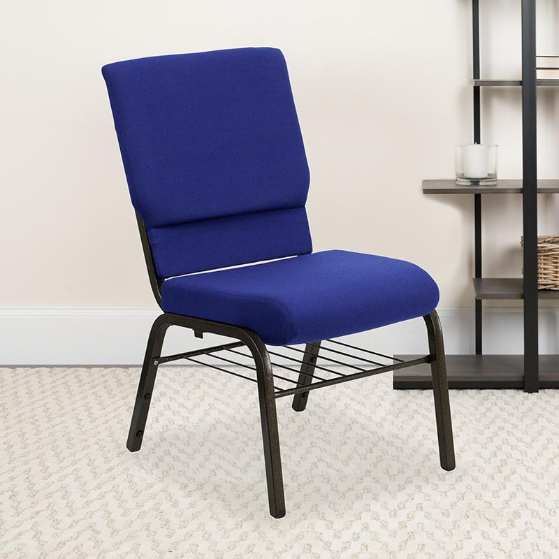 Blue Fabric Church Chair XU-CH-60096-NVY-BAS-GG
