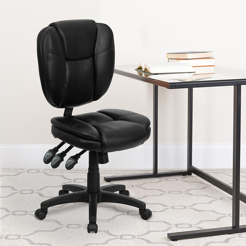 Black Mid-Back Leather Chair GO-930F-BK-LEA-GG