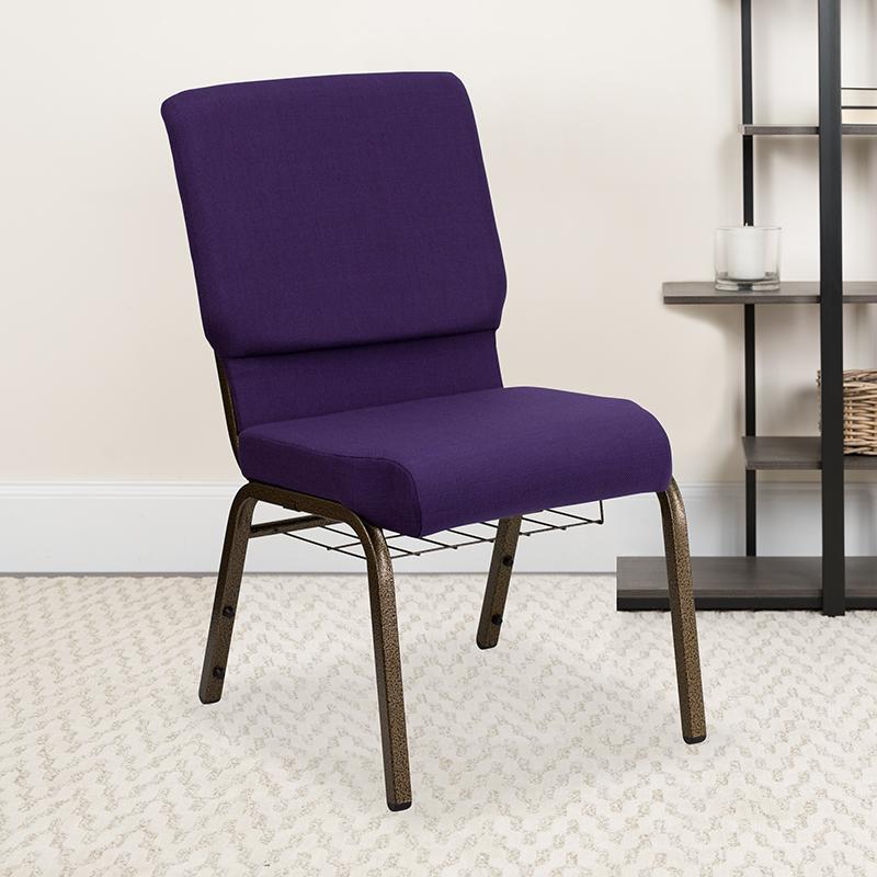 Purple Fabric Church Chair FD-CH02185-GV-ROY-BAS-GG