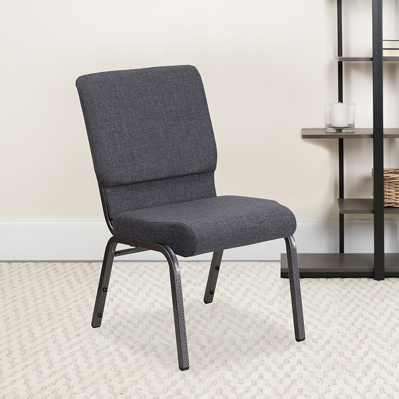 Dark Gray Fabric Church Chair FD-CH02185-SV-DKGY-GG