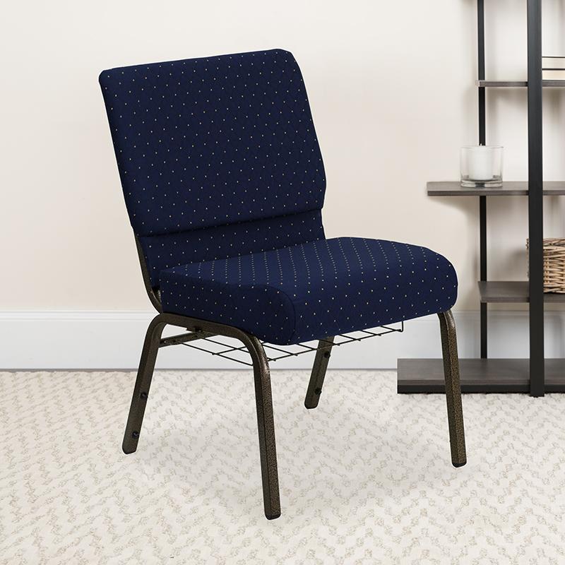 Blue Dot Fabric Church Chair FD-CH0221-4-GV-S0810-BAS-GG