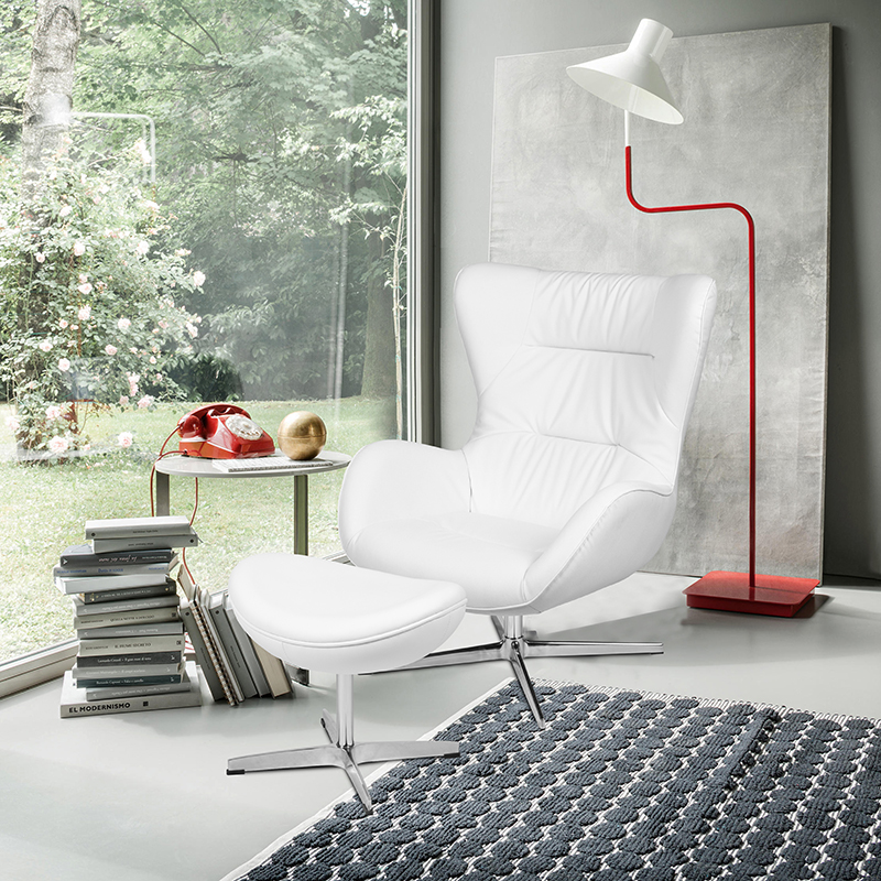 White LeatherSoft Swivel Wing Chair and Ottoman Set [ZB-WING-CH-OT-WH-LEA-GG]