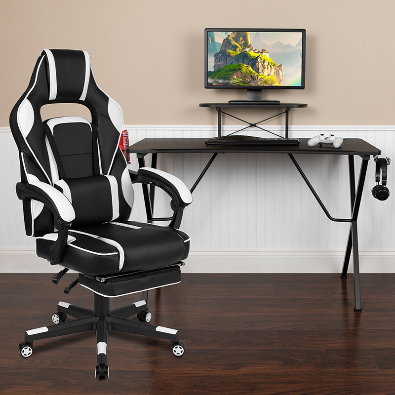 Black Gaming Desk with Cup Holder/Headphone Hook/Monitor Stand & White Reclining Back/Arms Gaming Chair with Footrest  [BLN-X40RSG1031-WH-GG]