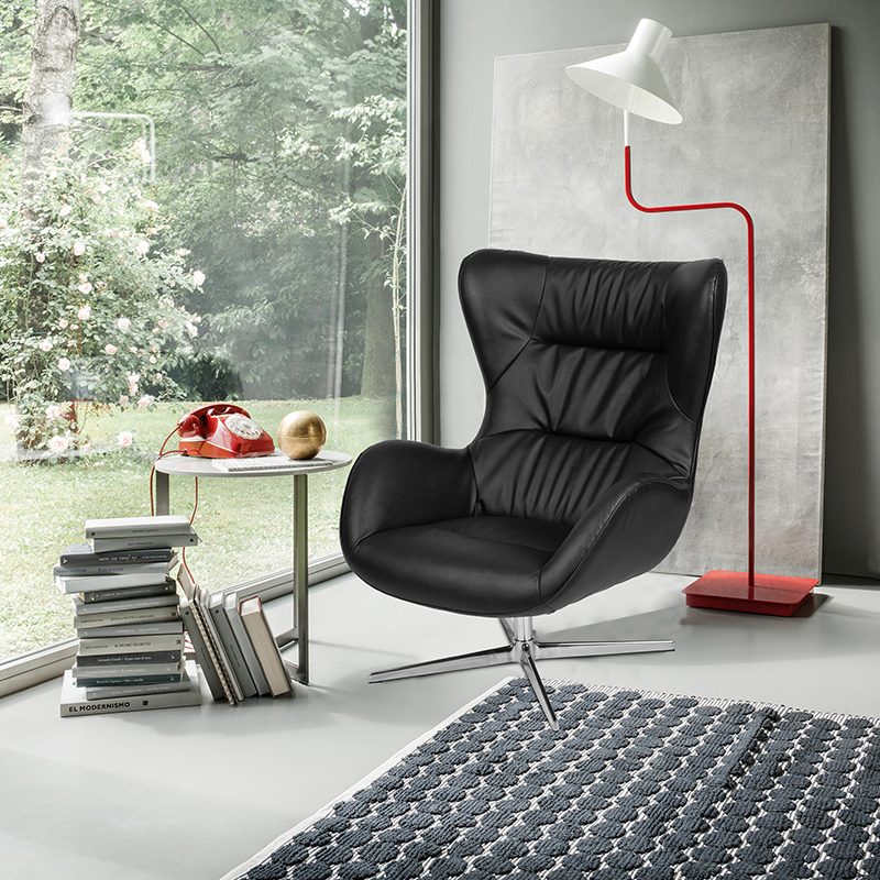 Black LeatherSoft Swivel Wing Chair [ZB-WING-BK-LEA-GG]