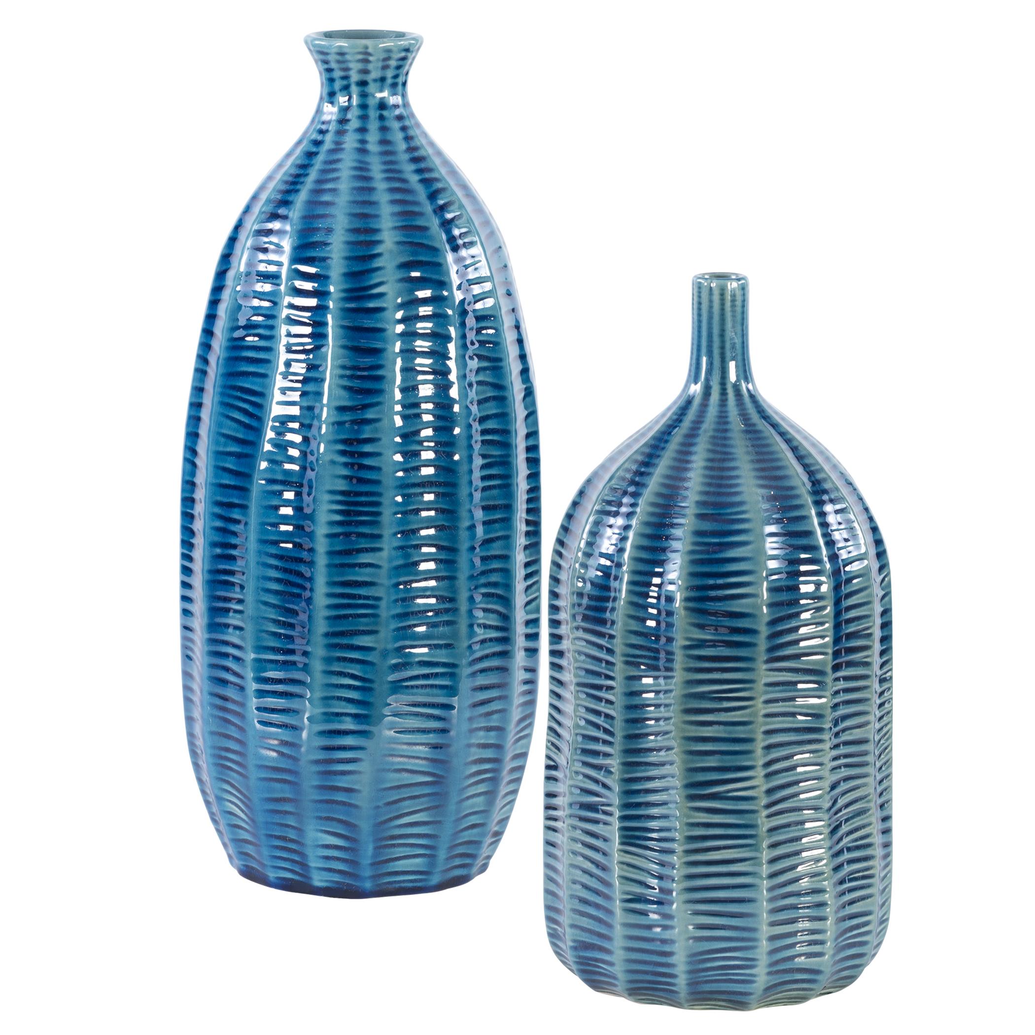 Uttermost Bixby Blue Vases, S/2