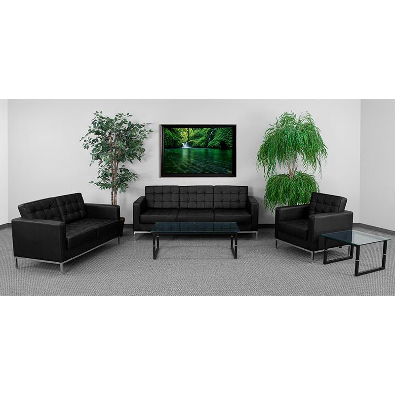Black Leather Reception Set ZB-LACEY-831-2-SET-BK-GG