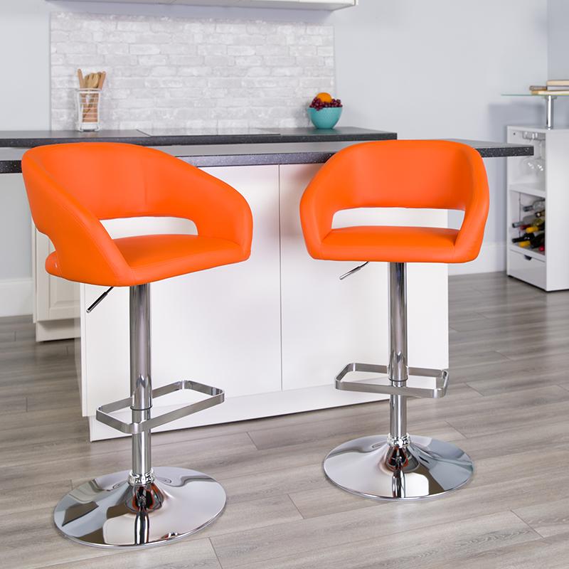 Orange Vinyl Barstool CH-122070-ORG-GG