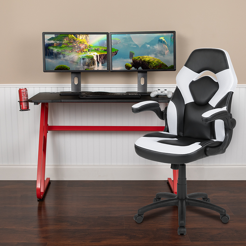 Red Gaming Desk and Chair Set BLN-X10RSG1030-WH-GG