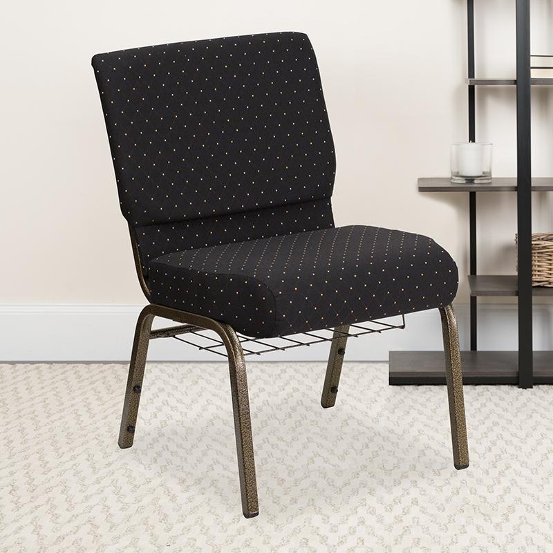 Black Dot Fabric Church Chair FD-CH0221-4-GV-S0806-BAS-GG