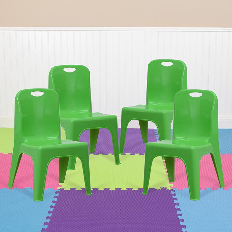 4PK Green Plastic Stack Chair 4-YU-YCX4-011-GREEN-GG