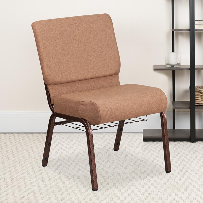 Caramel Fabric Church Chair FD-CH0221-4-CV-BN-BAS-GG