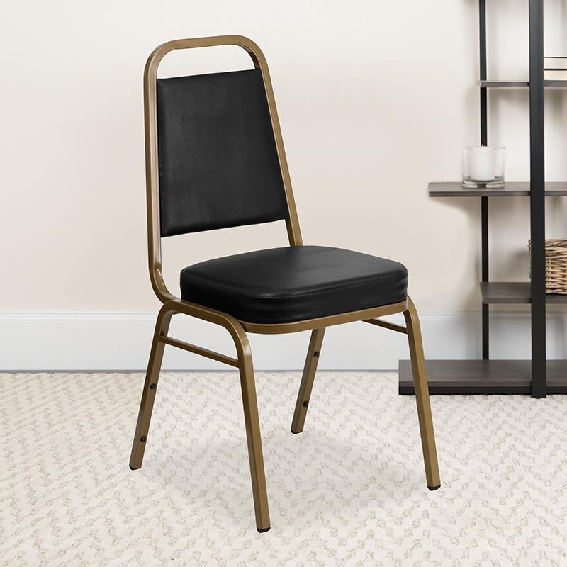 Black Vinyl Banquet Chair FD-BHF-1-ALLGOLD-BK-GG