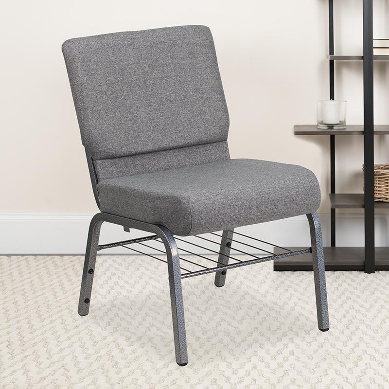 Gray Fabric Church Chair XU-CH0221-GY-SV-BAS-GG