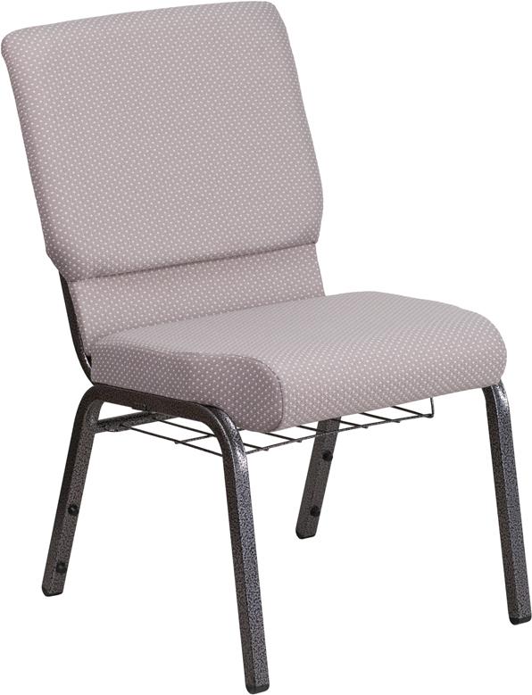 Gray Dot Fabric Church Chair FD-CH02185-SV-GYDOT-BAS-GG