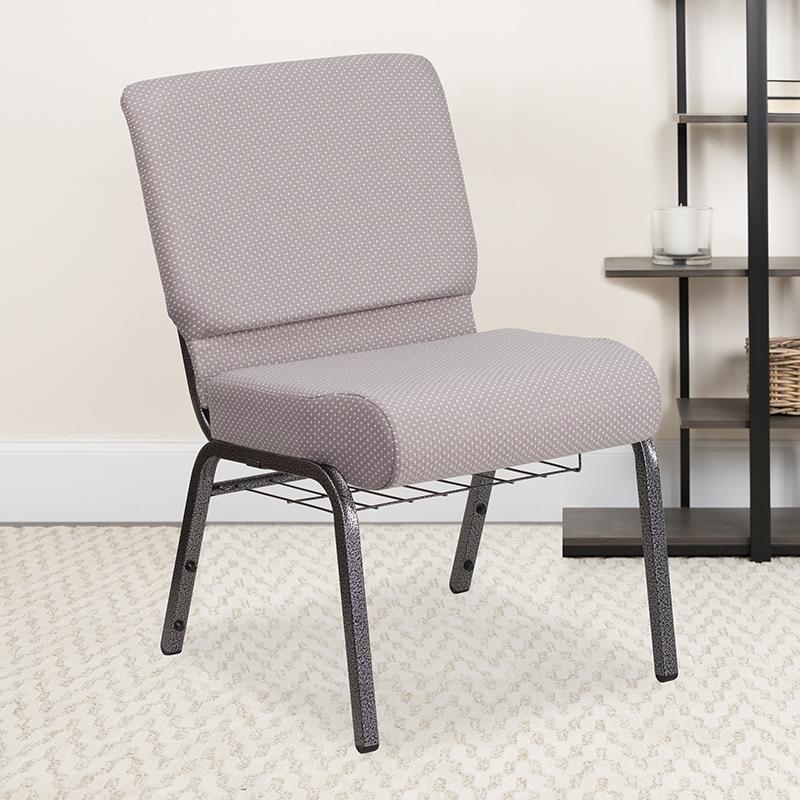 Gray Dot Fabric Church Chair FD-CH0221-4-SV-GYDOT-BAS-GG