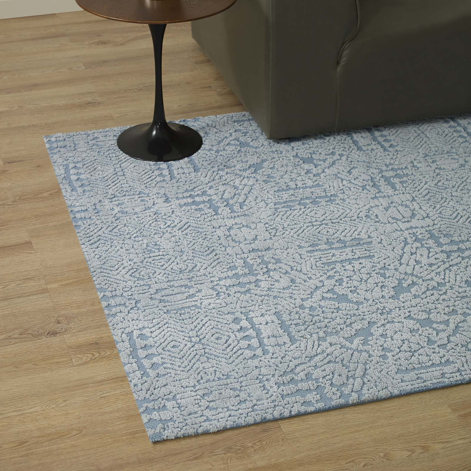 Javiera Contemporary Moroccan 5x8 Area Rug Ivory and Light Blue R-1018A-58