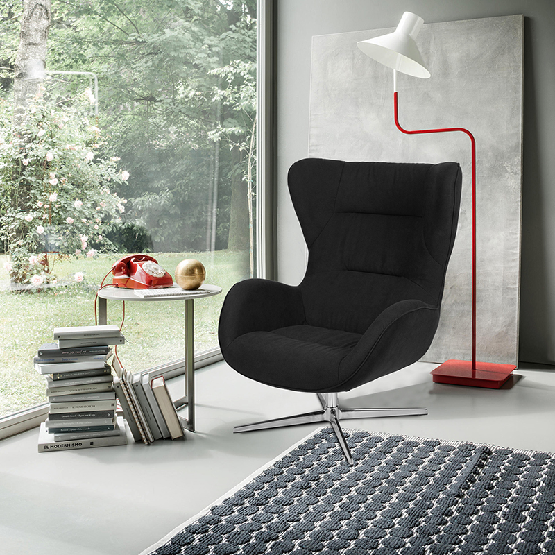 Black Fabric Swivel Wing Chair [ZB-WING-BK-FAB-GG]