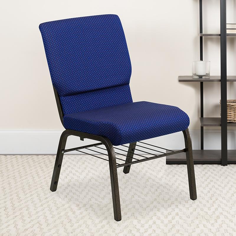 Blue Fabric Church Chair XU-CH-60096-NVY-DOT-BAS-GG