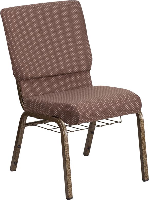 Brown Dot Fabric Church Chair FD-CH02185-GV-BNDOT-BAS-GG