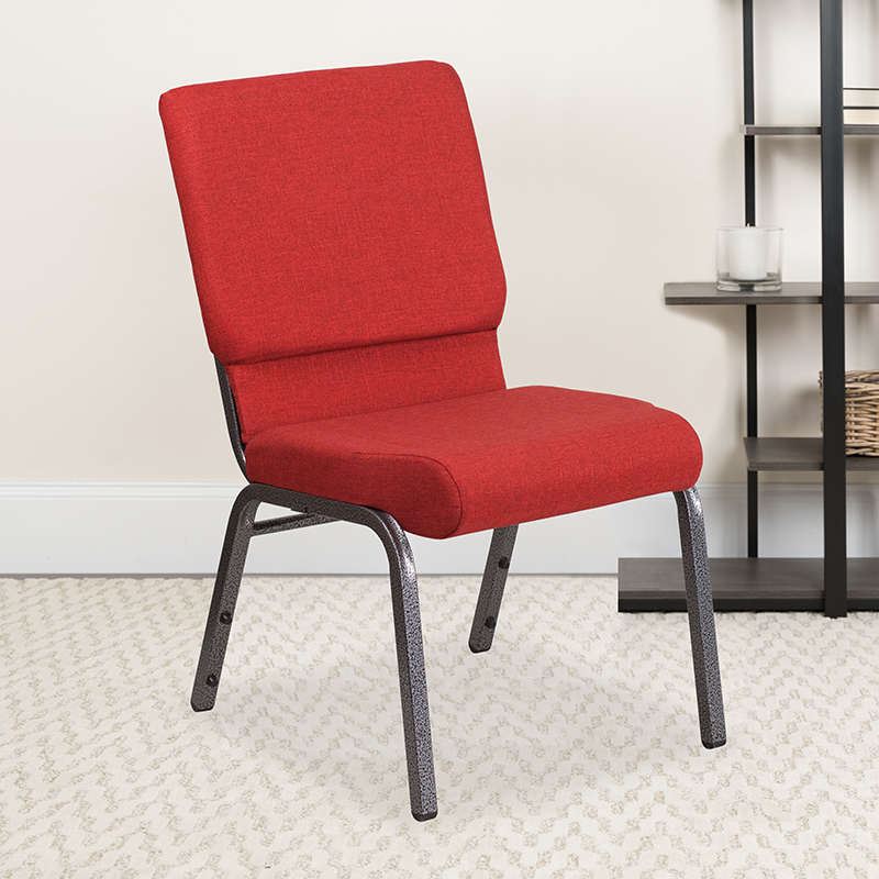 Red Fabric Church Chair FD-CH02185-SV-RED-GG